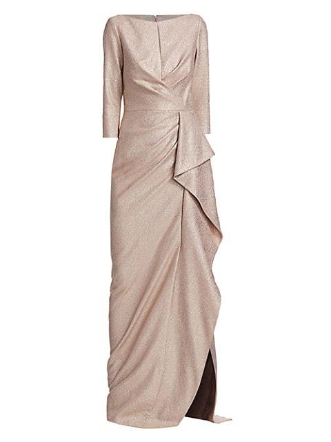 Metallic Ruffle Gown