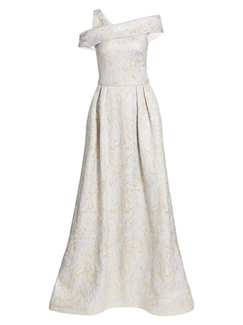 Theia One-Shoulder Jacquard Ball Gown   SaksFifthAvenue