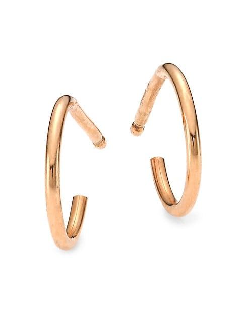 18K Rose Gold Tiny Hoop Earrings