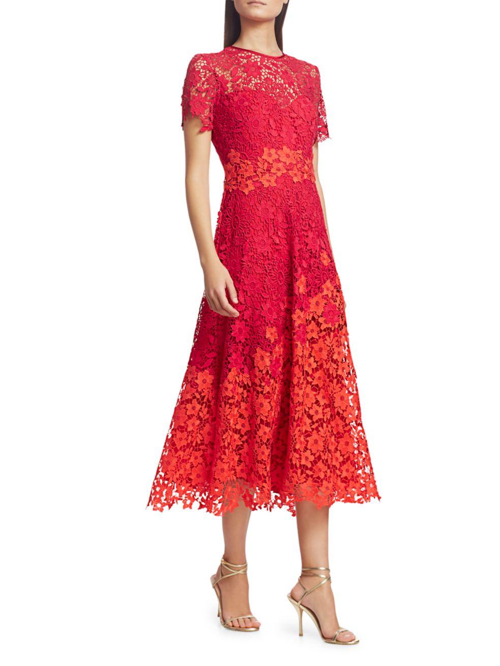 Theia Lace A-Line Midi Dress   SaksFifthAvenue