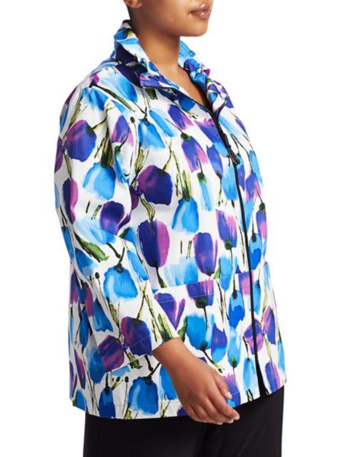 Caroline Rose, Plus Size Blooming Colors Stretch Cotton Zip Jacket | SaksFifthAvenue
