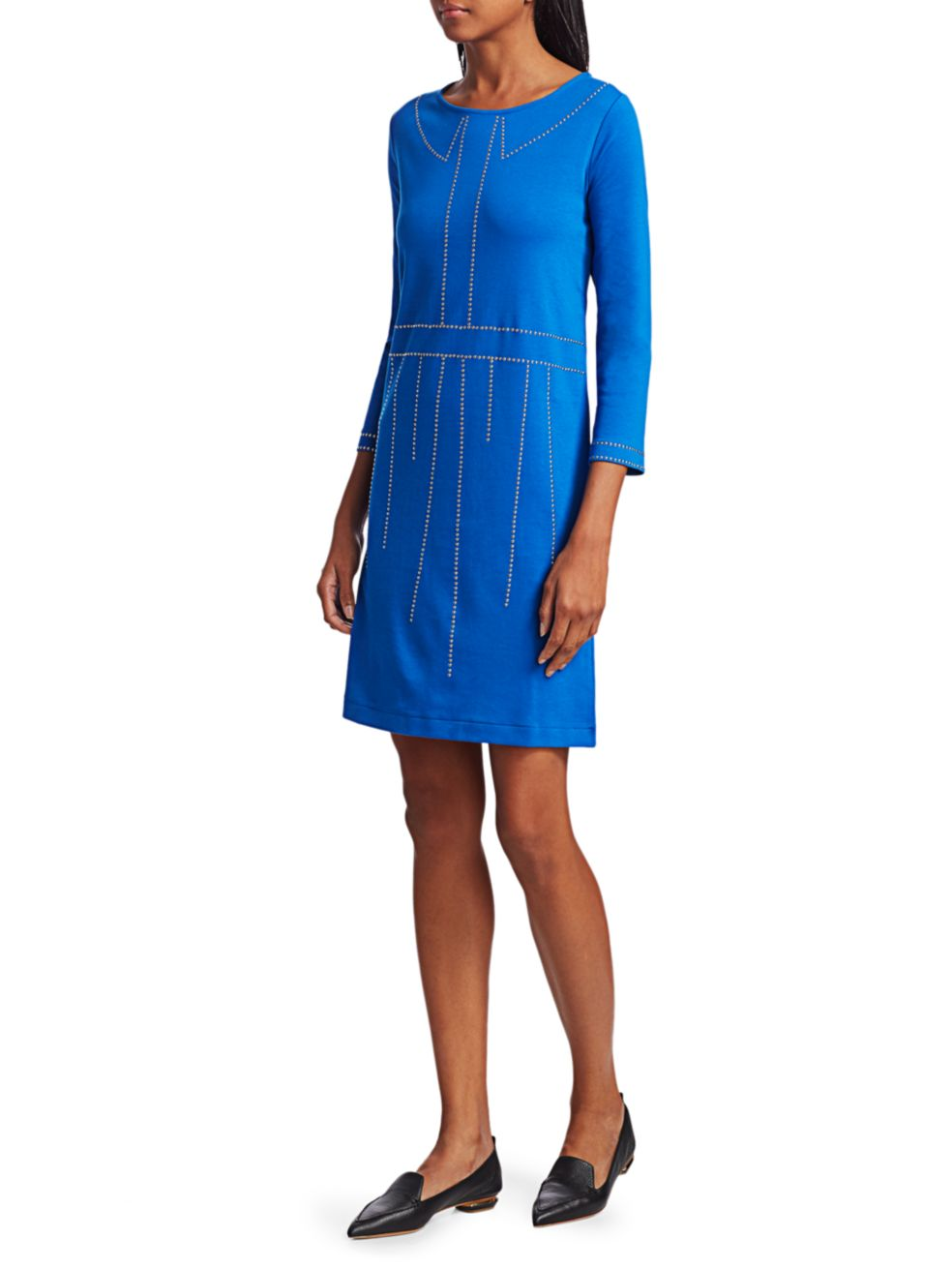 Joan Vass Trompe L'Oeil Studded Three-Quarter Sleeve Dress | SaksFifthAvenue