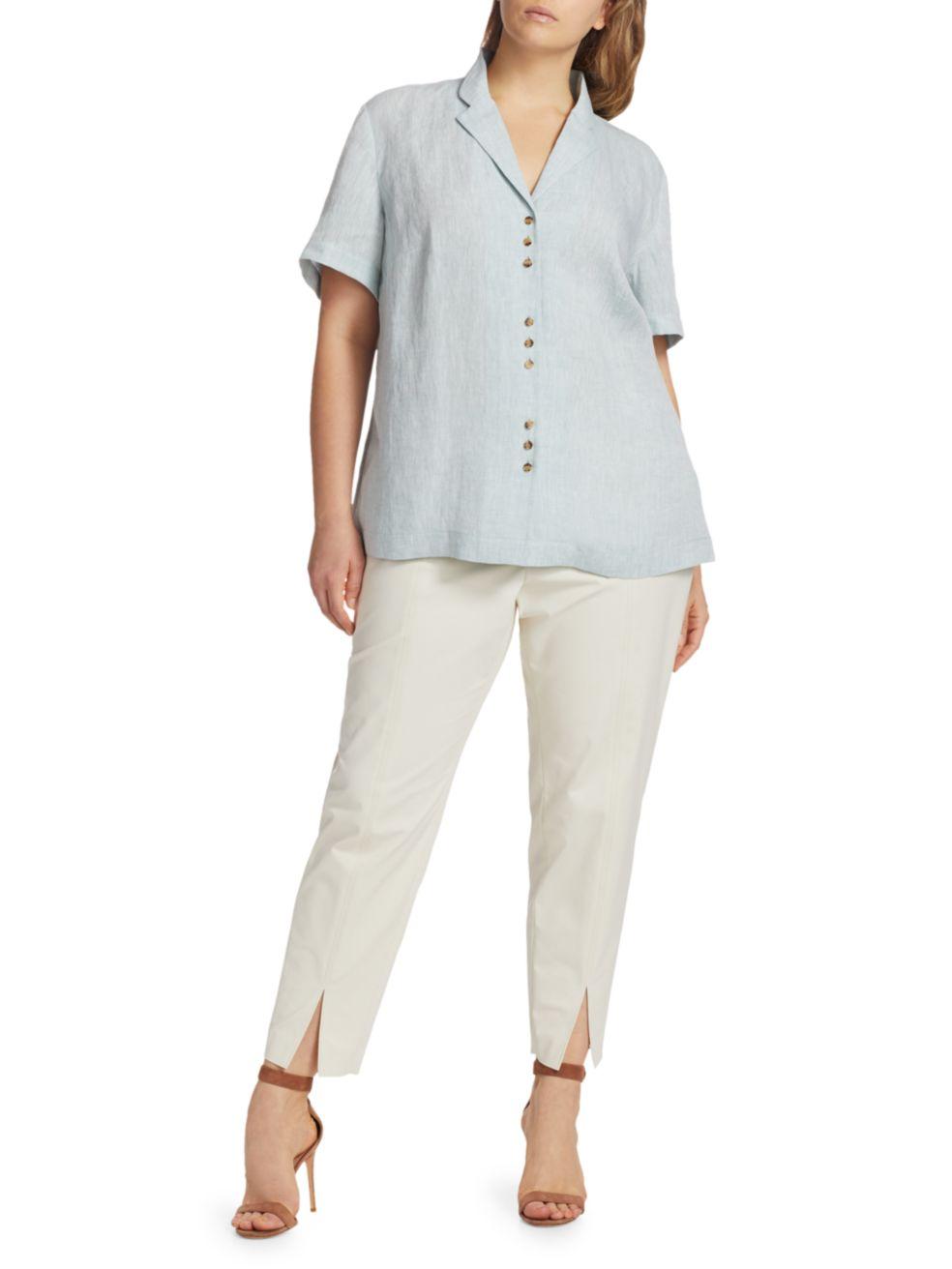 Lafayette 148 New York, Plus Size Bourne Button-Up Linen Top | SaksFifthAvenue