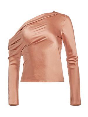 One Shoulder Silk Top by Cushnie