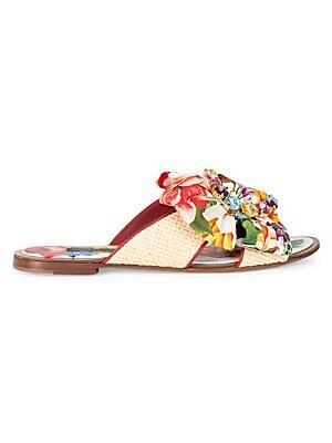 Embellished Floral Print & Raffia Flat Sandals by Dolce & Gabbana