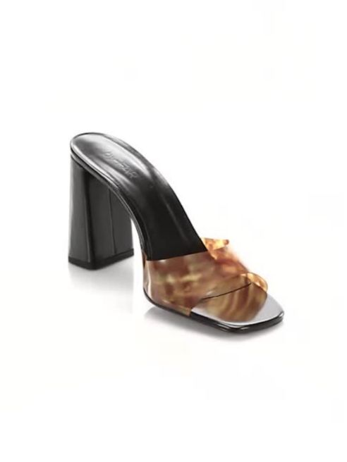 Vinyl Tortoise Mules by By Far, available on saksfifthavenue.com for $223.12 Kendall Jenner Shoes Exact Product