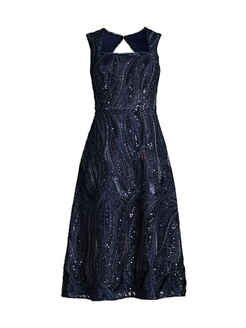 Square-Neck Beaded A-Line Dress