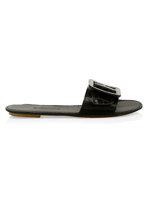 Loop Croc-Embossed Leather Flat Sandals