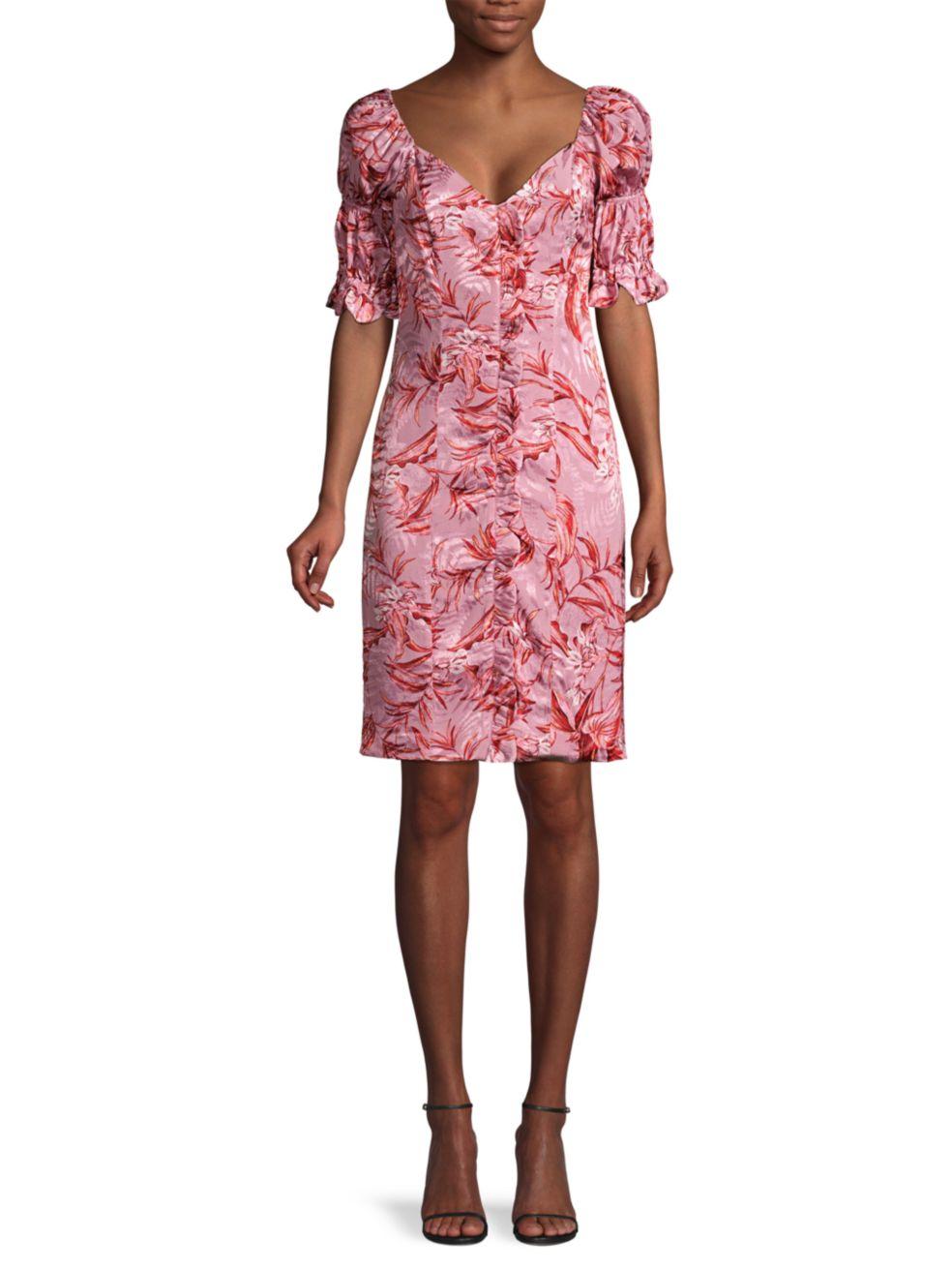 Azulu Laguito Layered Puff-Sleeve Printed Dress | SaksFifthAvenue