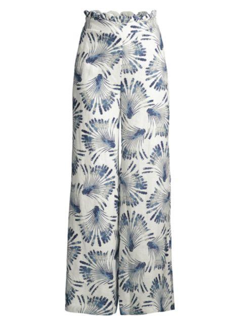 Azulu Tesoro Scallop-Waist Printed Linen Wide-Leg Pants | SaksFifthAvenue