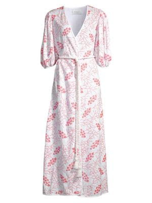 Pink Red Black Block Pattern Calf Length Satin Dressing Gown Robe S//M L//XL