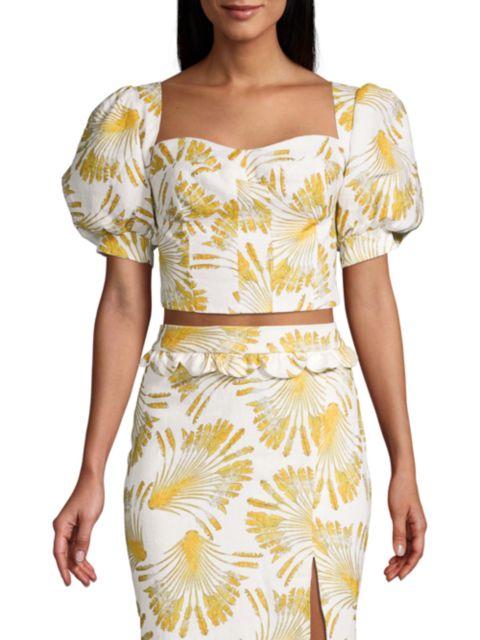 Azulu Coralina Puff-Sleeve Printed Linen Bustier Top   SaksFifthAvenue