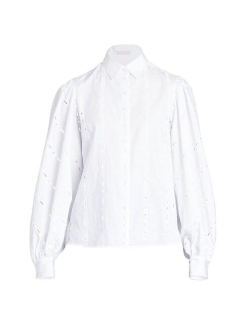 Cotton Poplin Broderie Shirt