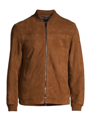 Theory Men's City Bomber Grande Suede Jacket In Tobacco