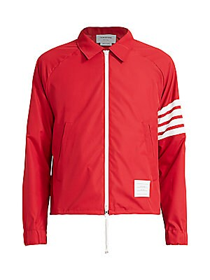 Thom Browne Men's Stripe-Sleeve Windbreaker -Red