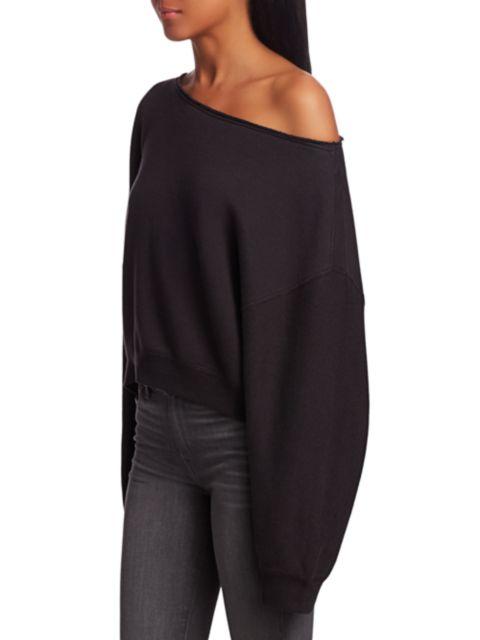 R13 Patti Asymmetric Puff-Sleeve Off-the-Shoulder Sweatshirt   SaksFifthAvenue