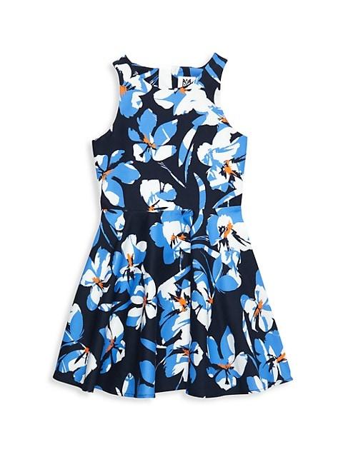 Girl's Hibiscus Print A-line Dress
