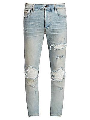 NEW Men Paint Splattered Denim Jeans Pants Vintage  Ripped Distressed Indigo NWT