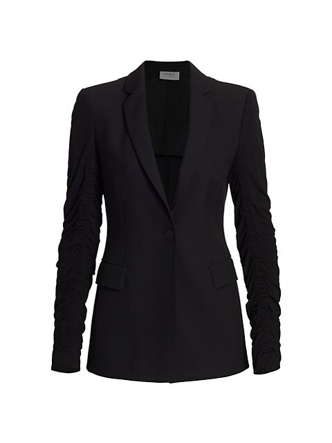 Ruched-Sleeve Crepe Jacket