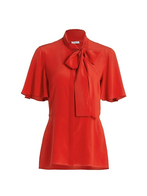 Bow Detail Peplum Silk Blouse