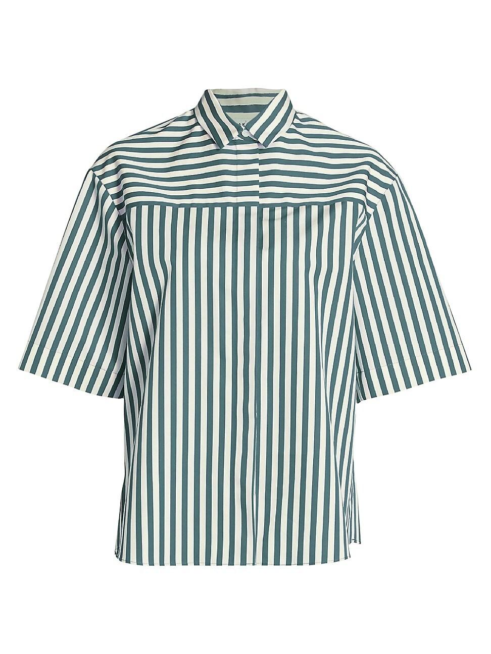 Akris punto Women's Stripe Short-Sleeve Boyfriend Poplin Shirt – Wave Cream – Size 14