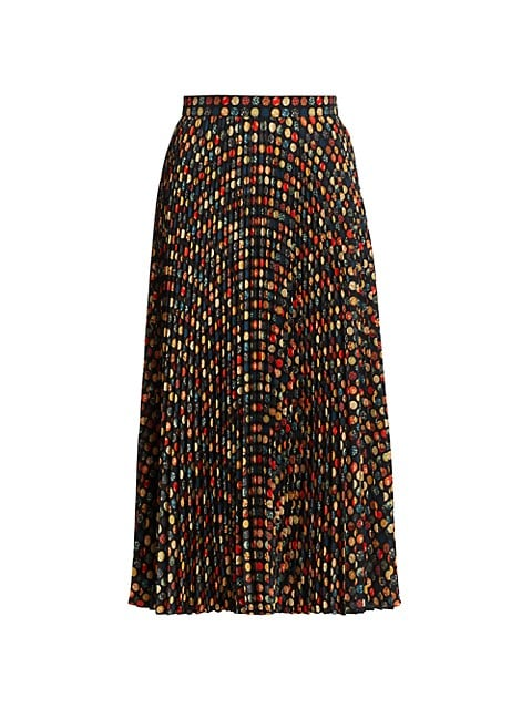 Wood Blockdot Mini Plisse Midi Skirt