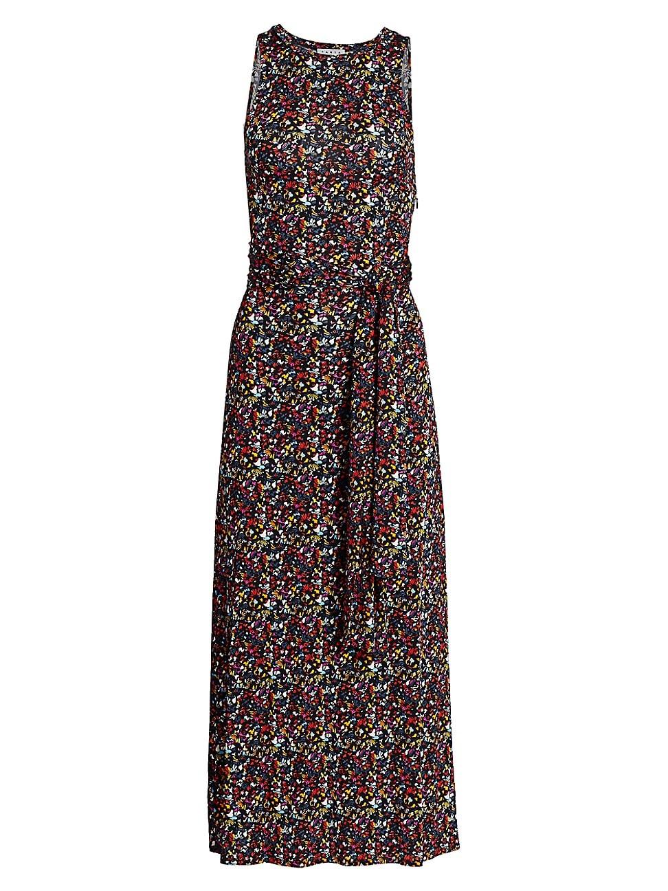 Tanya Taylor Octavia Printed Tie-back Long Dress In Confetti Small Black