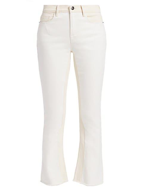 Le Crop Mid-Rise Mini Bootcut Two-Tone Jeans