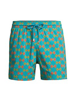 Mens La Perla Swim Shorts//Trunks with Dual Drawstring Detail in Orange and Green