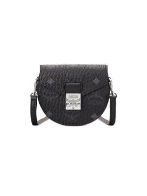 Mcm Women's Patricia Visetos Crossbody Wallet-on-strap In Black