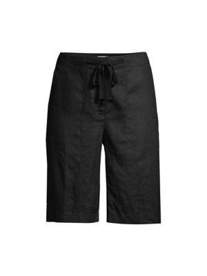 Eileen Fisher Women's Linen Drawstring Shorts In Black