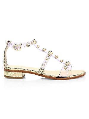 Dina Gem Embellished Clear Flat Sandals by Sophia Webster