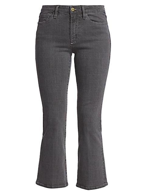 Le Crop Mid-Rise Mini Bootcut Plaid Jeans