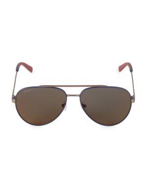 Salvatore Ferragamo Men's Italian Lifestyle 52mm Aviator Sunglasses In Blue