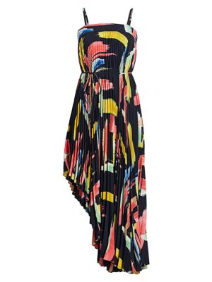 Milly Modern Brushstroke Print Asymmetrical Pleated Midi Dress