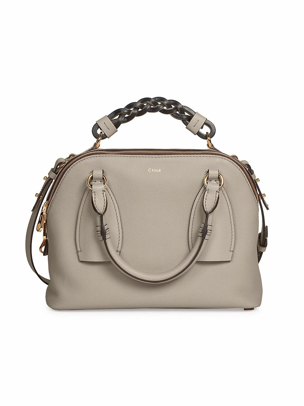 Chloé Women's Small Daria Leather Satchel In Gray