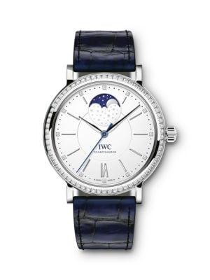 Iwc Schaffhausen Portofino Stainless Steel, Diamond Bezel & Alligator Strap Moon Phase Watch