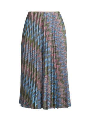 M Missoni Women's Lurex Chevron Pleated Skirt In Pink Light Blue
