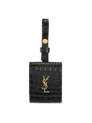 Saint Laurent Women's Monogram Croc-embossed Leather Airpods Case In Nero