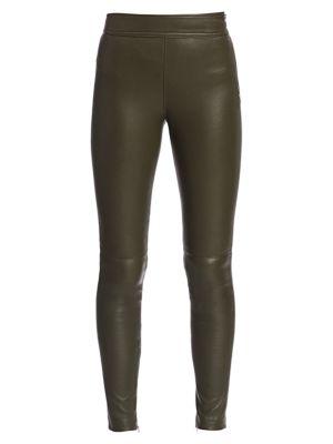Helmut Lang Zip Leather Leggings In Sage