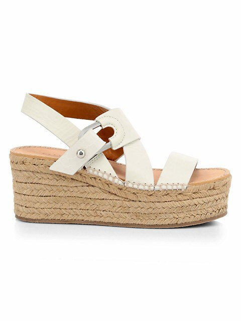August Leather Wedge Platform Espadrille Sandals