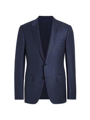 Ermenegildo Zegna Trofeo Pinstripe Wool Suit Jacket