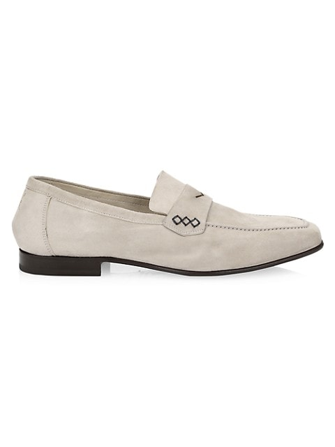 Via Roma Cashmere Suede Penny Loafers