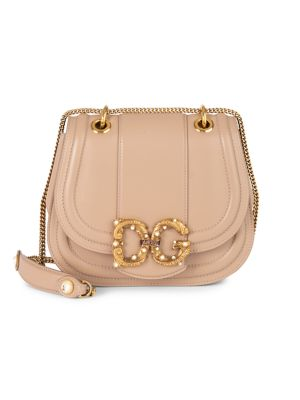 Dolce & Gabbana Dg Amore Leather Saddle Bag In Desert Rose