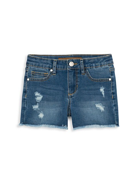 Girl's Mid-Rise Frayed Hem Denim Shorts