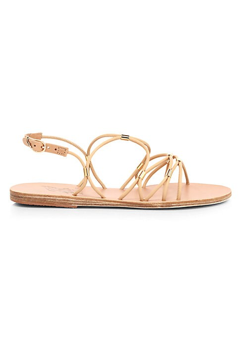 Flat faux leather slingback sandals in a strappy construction dotted with goldtone trim. Synthetic leather upper Open toe Adjustable slingback strap Leather/rubber sole Imported. Women\\\'s Shoes - Workshop Shoes > Saks Fifth Avenue > Barneys. Ancient Greek Sandals. Color: Natural. Size: 37 (7).