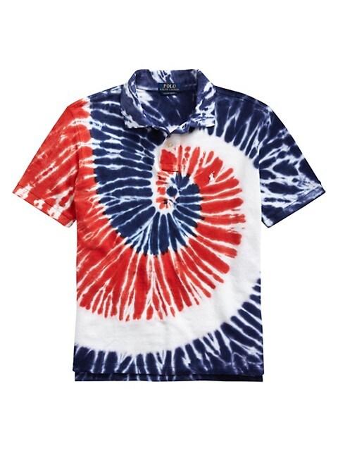 Custom Slim-Fit Basic Mesh Americana Tie-Dye Polo