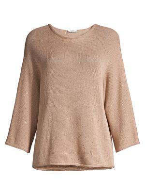 Peserico Women's Sequin Dolman-sleeve Sweater In Brown