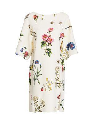 Blend Shift Wool Dress Floral wN0OX8Pnk