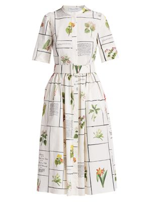 Oscar De La Renta Women's Botanical Print Shirtdress In Ecru